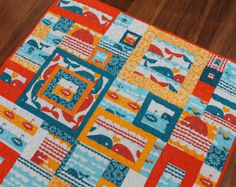 Nautical Baby Quilt, Modern Patchwork Marine Theme in Orange, Turquoise and White