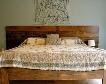 Custom Rustic Platform Bed or Headboard - Contemporary Modern Minimalist Industrial