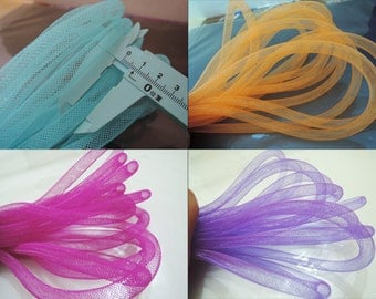 2 Yards of 8 mm width Horsehair ( Crin )  Tube Crinoline for Hair Accessories ( 5 color you can choose )