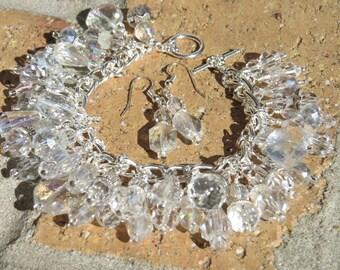 CRYSTAL CLEAR Sparkling Charm Bracelet ooak