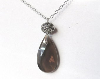 Large Smoky Quartz Teardrop Pendant with Sterling Silver