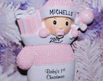 Personalized Baby Girl First Christmas Mitten Ornament