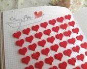 Mini Heart Felt Sticker Set - 2 Sheets,168 Pcs,Red Heart-shape
