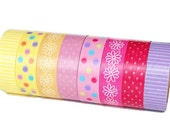 Polka Dots Striped and Flower Washi Tape Set of 8 Rolls - 5m Masking Tape Gift Wrapping
