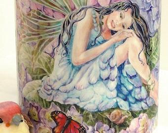 Ceramic Fairy Hydrangea and Monarch Butterflies design 11oz Mug, light blue handle