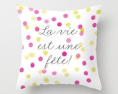 Pink Yellow Confetti Pillow Cover, Confetti Pillow, Nursery Room Pillow, Baby Pillow, Watercolour Dots Pattern, Pink Pillow, Girl Room Decor