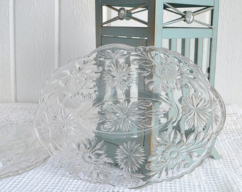 Oval cut glass plates , floral glass pattern, vintage Swedish glass , serving plates, glass platters