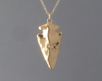 Gold Arrowhead Necklace Long 30
