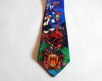 Vintage Men's Necktie Loony Tunes Tasmanian Devil Sylvester the Cat