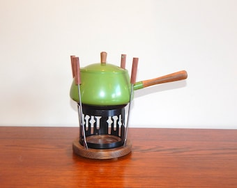 Vintage Fondue Set Avocado Green Kitchen 4 Fondue Forks Wooden and Metal Base