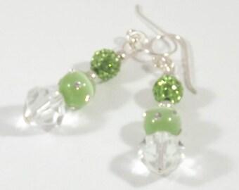 Green Swarovsk pearl crystal dangle earrings