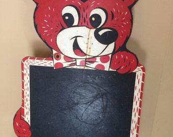 Vintage Pressman Teddy Bear Chalkboard Sign 1950s Chalkboard Memo Board Pressman Toy 1132 Children's Room Decor