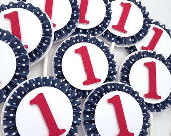 Red and Navy Baby Shower | Nautical Cupcake Toppers | Nautical 1st Birthday Party Decor | Ahoy It's A Boy | Set of 12
