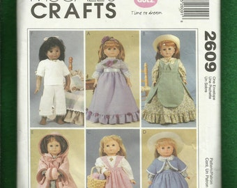 McCalls 2609 Victorian Era Doll Clothes Dresses Pinafores Hooded Coat and Undergarments Size 18 inch doll