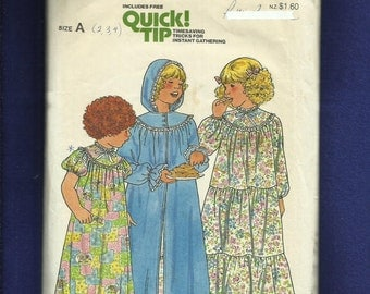 Vintage  1970's Butterick 6354 Country Girl Round Yoke Robe with Hood Size 2..3..4 UNCUT