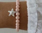 pink starfish bracelet - beach bracelet - sterling silver mermaid bracelet - pink bracelet - beachcomber bracelet