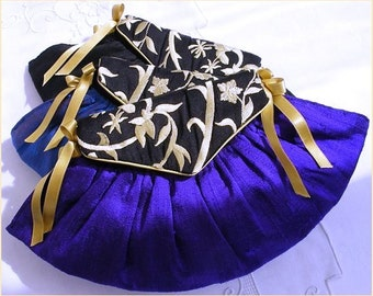 evening purse, blue, black, cream silk, pink, gold, embroidered purse, bridesmaids gift, wedding purse