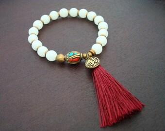 Women's Jade Tassel Mala Bracelet - Sea Green Jade Mala Bracelet - Yoga, Buddhist, Meditation, Prayer Beads, Jewelry