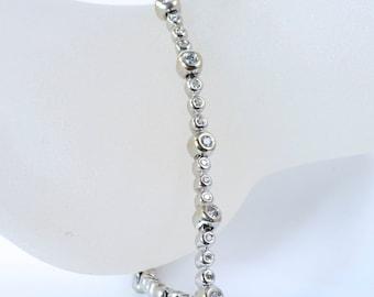 Vintage 14K White Gold Diamond Tennis Bracelet 7 inches