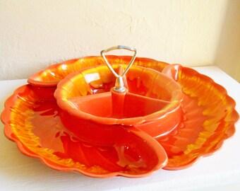 Bright Orange and Yellow Ceramic Round Serving Dish Complete Set Three 3 Pottery