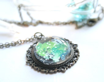 Nebula necklace - Hand painted necklace - Cosmic jewelry - Galaxy scape