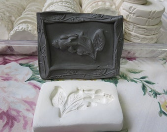 Clay Stamp Fuchsia Flower Pottery Press Mold Relief Mold or Sprig Mold Bisque Clay Floral Stamp for Ceramic Decoration and Texture