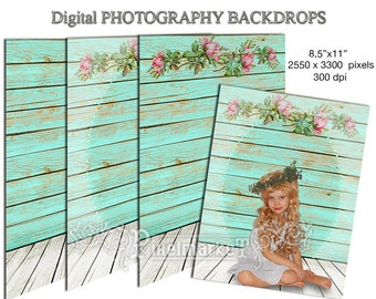 PHOTO BACKDROP Indoor with Wooden Floor Digital Background Instant Download Printable Download Photo Studio teal Blue Wooden Planks Bk6