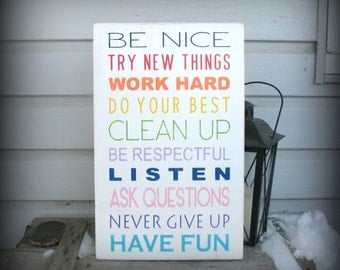 Class - Playroom - House Rules -- Painted Wooden Signs