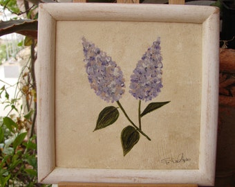 vintage lilac flower, floral acrylic watercolor painting on wood in distressed white wooden frame,ready to hang