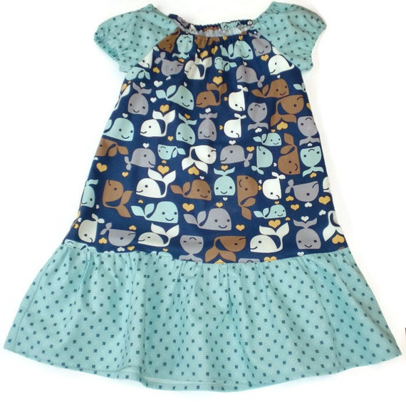 Whale Peasant Dress, Toddler Peasant Dress, Girl Peasant Dress, Whale Toddler Dress, Little Girl Dress, Girl Whale Dress
