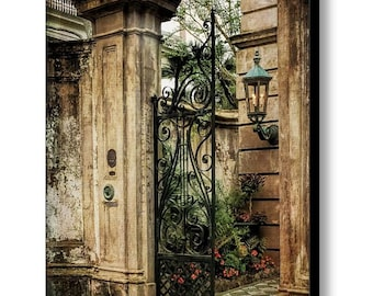 Architecture Italian Renaissance Charleston SC Grand Entrance Iron Gate Photo Art on Gallery Wrap Canvas Large