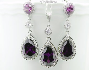 Wedding Earrings and Necklace Set Bridal Jewelry Purple Earrings Amethyst Earrings Wedding Jewelry Post Earrings Sterling silver Necklace