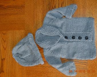 Newborn baby boy handknitted grey sweater and hat set