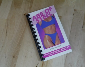 Handmade Abs of Steel 1991 Workout Exercise Video Re-purposed VHS Cover Notebook Journal