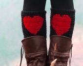 Red Heart Boot Cuffs, Heart Leg Warmers, Crochet Cuffs Heart, Valentine leg warmer, knee high, Red Yoga Socks, Faux Boot Socks, Valentines