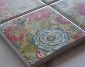 Floral Coasters Four Piece Ceramic Tile Set