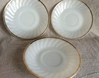 Vintage Fire King Milk Glass Saucers- Set of 3