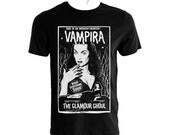 Vampira  vintage horror cover book black tshirt