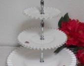 On Sale! Elegant Fenton Milk Glass Three Tiered Server, Silver Crest Tidbit Serving Tray, Wedding Decor, Wonderful Condition