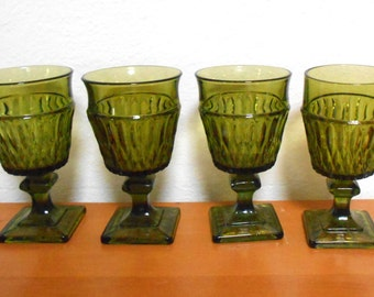 Green Goblets, Indiana Glass Mount Vernon, Set of 4