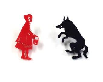 Little Red Riding Hood Earrings |  Laser Cut Jewelry | Hypoallergenic Studs