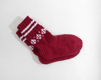 Knitted Wool Socks - Red, Size Small