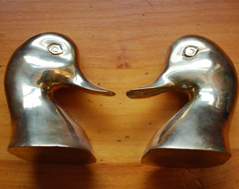 Pair of Solid BRASS MALLARD Duck Head BOOKENDS
