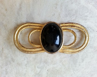 vintage gold tone brooch . 80s brooch . statement brooch