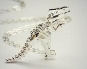 silver dinosaur necklace, T-rex necklace, dinosaur skeleton, skeleton necklace, bone necklace, kitsch necklace, long necklace