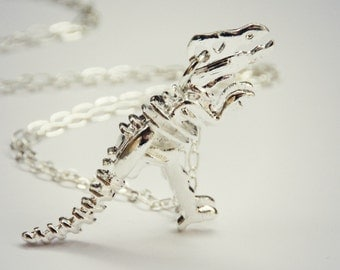 silver dinosaur necklace, T-rex necklace, dinosaur skeleton, skeleton necklace, bone necklace, kitsch necklace, long necklace