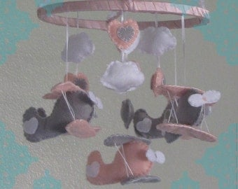 New Felt Bi PLane Baby Mobile- Pink,Grey and White Bi Plane Baby Mobile