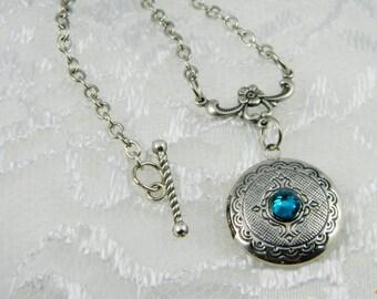 Locket-Necklace-Silver Locket-Vintage-Blue-Glass