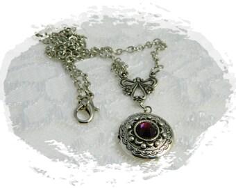 Locket-Necklace-Silver Locket-Vintage-Pink-Dark Pink-Swavorski-Crystal-Rhinetsone