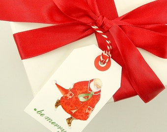 Santa Claus gift tag Christmas red striped twine card set